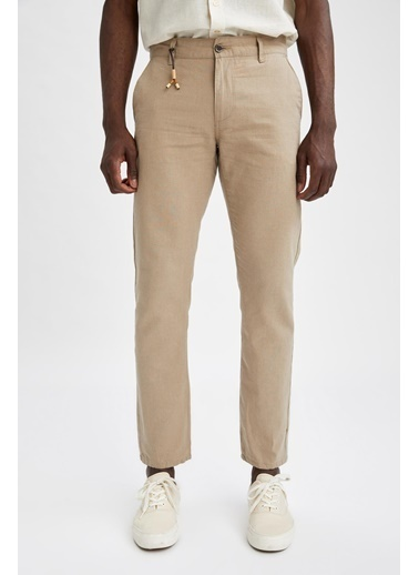 DeFacto Regular Fit Keten Chino Pantolon Bej